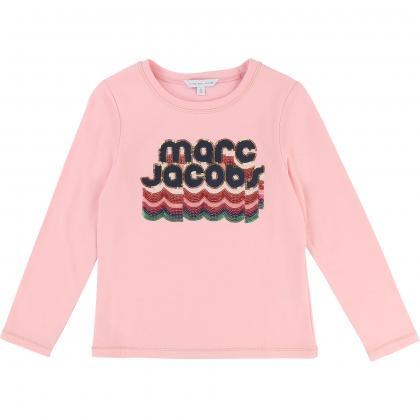 Little Marc Jacobs Shirt mit Pailletten in rosa