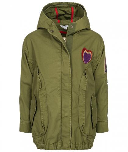 Little Marc Jacobs Kapuzenparka mit Patches in khaki