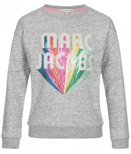 Little Marc Jacobs Sweatshirt mit Pailletten in grau