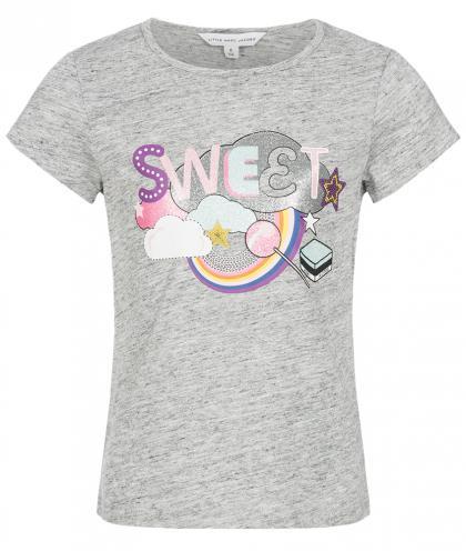 Little Marc Jacobs Shirt mit Glitzer Print in grau