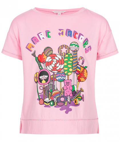 Little Marc Jacobs Shirt mit Candy Print in rosa
