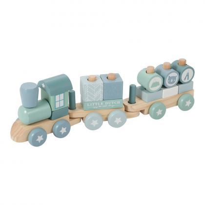 Little Dutch Adventure Holz Eisenbahn mit Steckformen -  blau