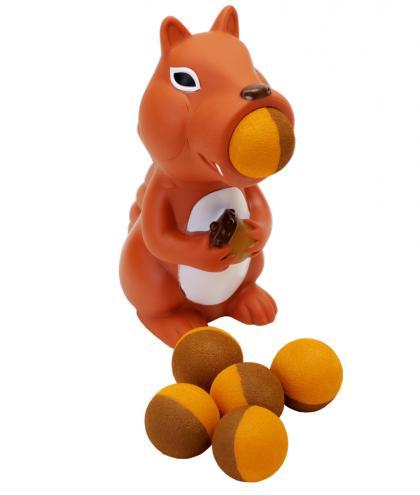 Leif Plopper Eichhörnchen mit 6 Schaumstoffbälllen - orange