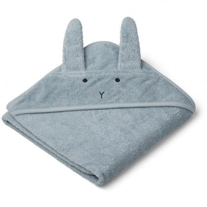 Liewood baby bath towel Albert - Rabbit Sea blue