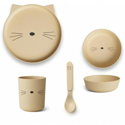 Liewood bamboo box set cat - Smoothie Yellow