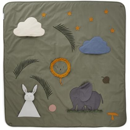 Liewood activity blanket Glenn made of organic cotton, 120 cm - faune green