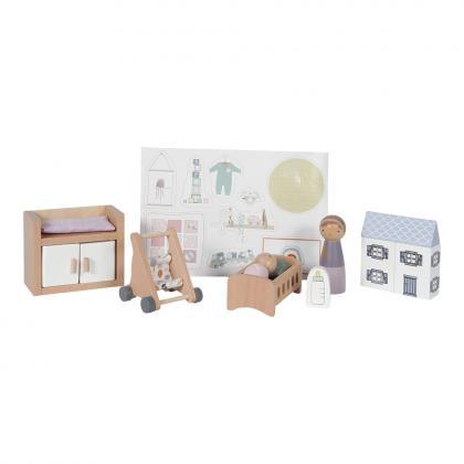 Little Dutch Holz Puppenhaus Spielset Babyzimmer - multi