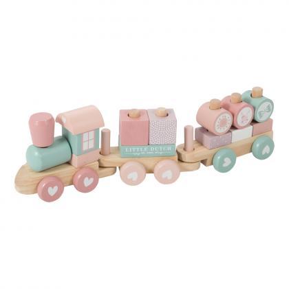 Little Dutch Adventure Holz Eisenbahn mit Steckformen -  rosa