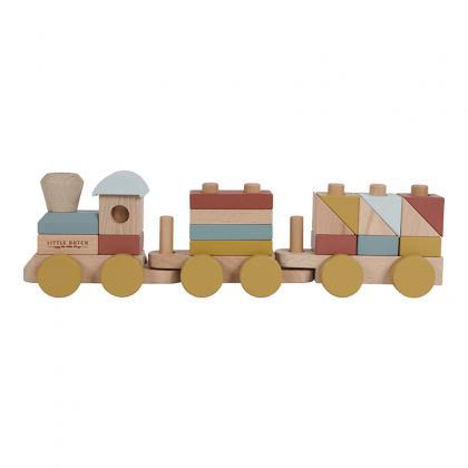 Little Dutch FSC Holz Eisenbahn mit Steckformen -  bunt
