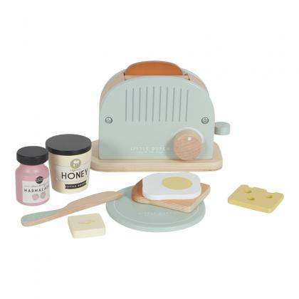 Little Dutch Holz Toaster Set, 10-teilig - mint