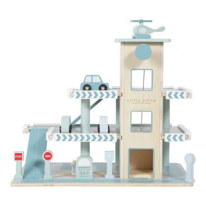 Little Dutch wooden parkhouse/garage - blue
