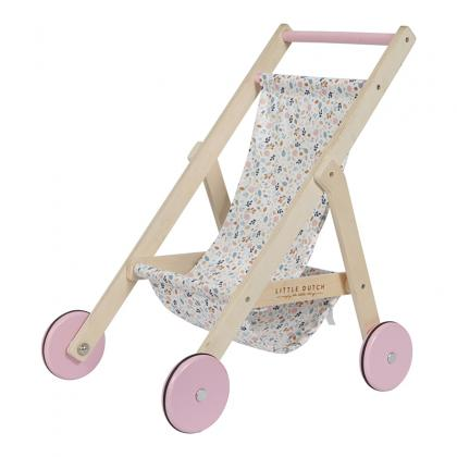 Little Dutch Holz Puppenbuggy Spring Flowers -  rosa