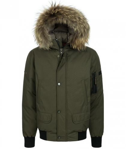Mc Ross Iceberg Bomberjacke mit Echtfell in military