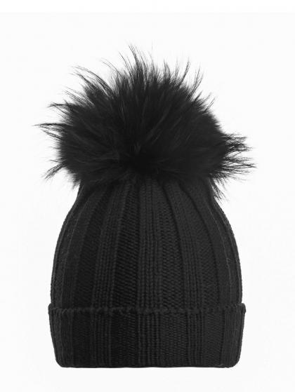 Mia Merino Strickmütze mit Echtfell in schwarz