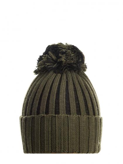 Mia merino knitted hat with pom pom in olive