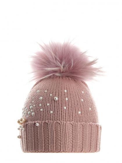 Mia Merino Wollmütze mit Perlen und Echtfell in rosa