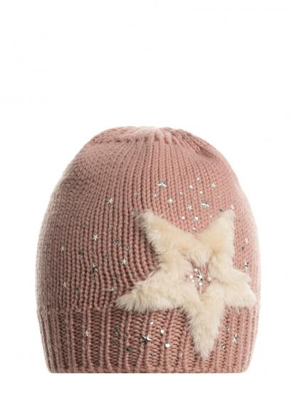 Mia merino wool hat with star and rhinestones in old rose