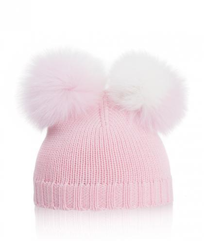 Mia Baby Strickmütze mit Fuchsfell Bommeln in rosa