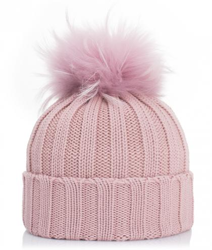 Mia merino wool hat with real fur in old rose