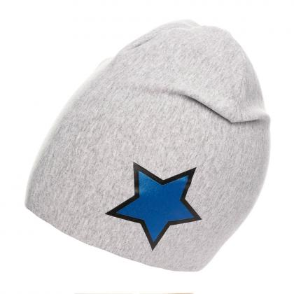 Mia cotton hat with stars print - grey