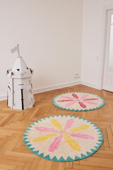 Minividuals Teppich Federn rund rosa / gelb - 150cm