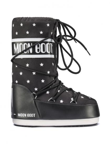 Moon Boots JR Girl with stars in black