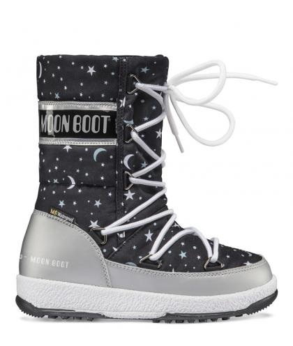 Moon Boots JR Girl Quilted Universe - silber/schwarz