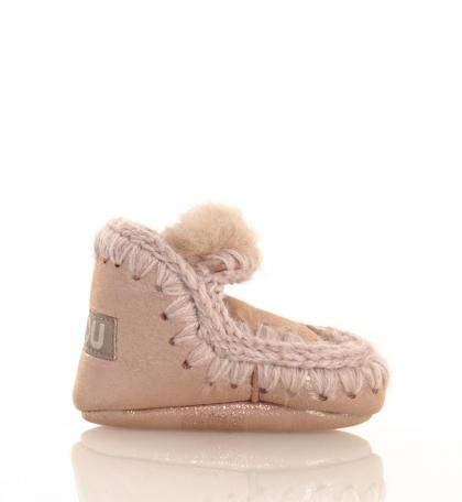 Mou Eskimo Infant baby shoes in microglitter pink