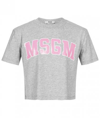 MSGM Cropped Top mit Print in grau-meliert