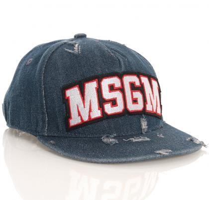 MSGM Cap im Used-Look mit Logo-Aufdruck in jeansblau