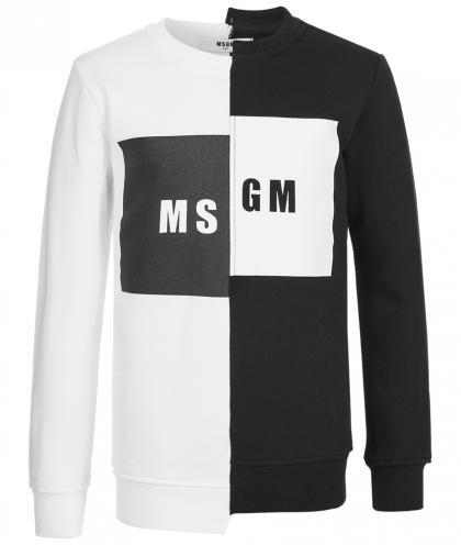 MSGM Pullover mit Logo-Print in schwarz-weiss