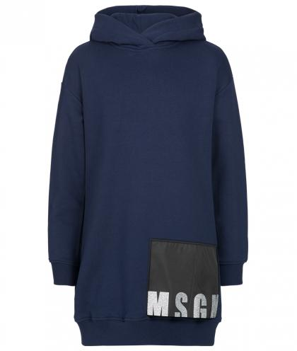 MSGM hooded sweatshirt with strass in blue