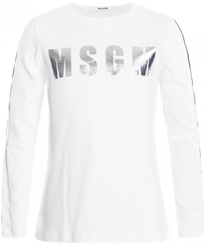 MSGM Metallik Shirt mit Track Stripes in naturweiss