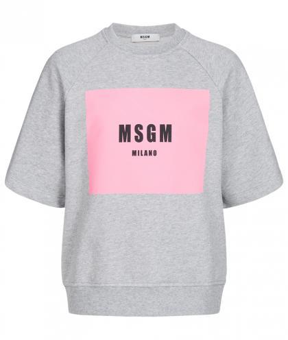 MSGM Oversize Sweatshirt mit Print in grau-meliert