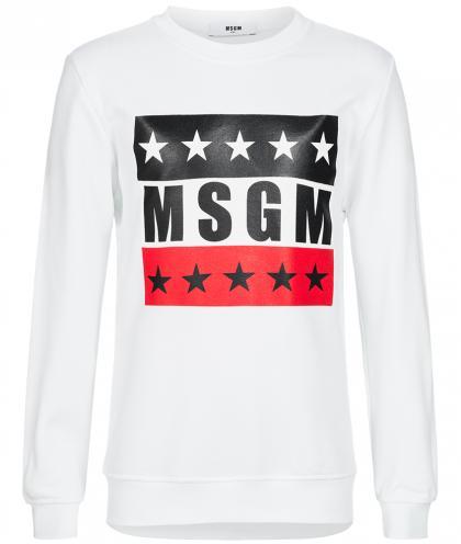 MSGM Sweatshirt mit Logo und Sternen in weiss