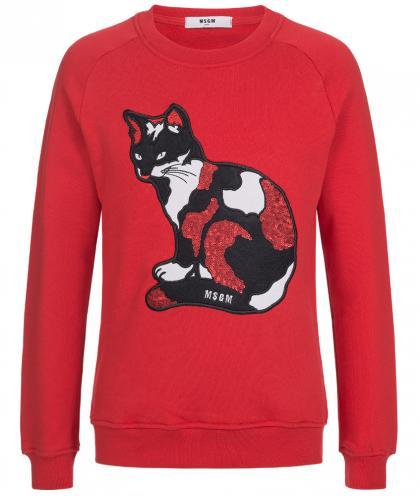MSGM Sweatshirt mit Katzen-Aufnäher aus Pailletten in rot