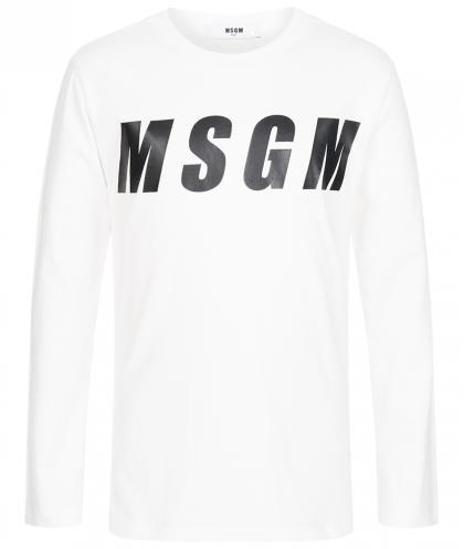 MSGM Langarmshirt mit beidseitigem Print in naturweiss