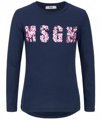 MSGM Langarmshirt mit Blumen und Strass bestickt in blau
