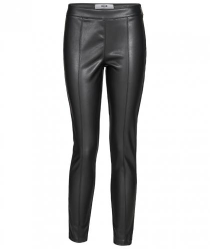 MSGM Leder-Optik Leggings in schwarz
