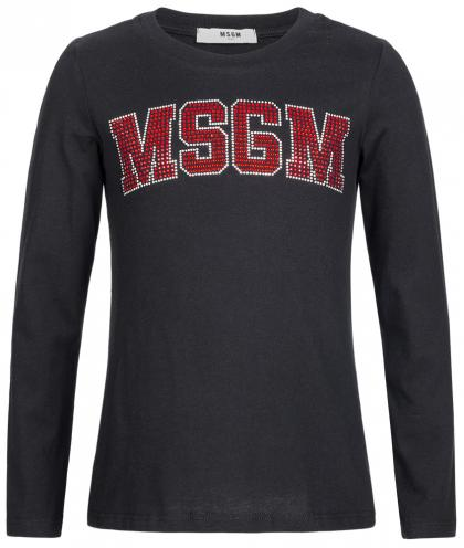 MSGM longsleeve with strass logo in black