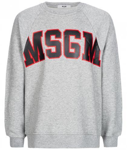 MSGM Pullover mit Logo Print in grau-meliert