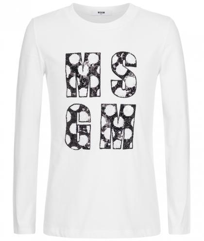 MSGM Langarmshirt mit Logo aus Pailletten in weiss