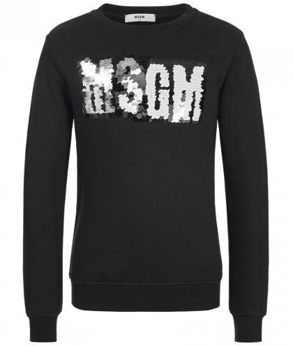 MSGM Pullover mit Logo aus Pailletten in schwarz