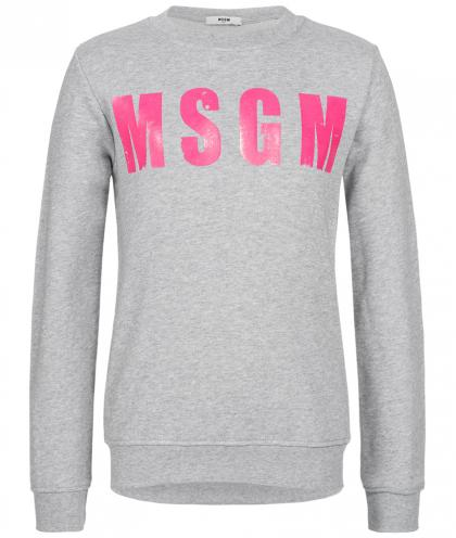 MSGM Sweatshirt mit Print in grau-meliert