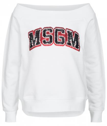 MSGM Sweatshirt mit Pailletten in weiss