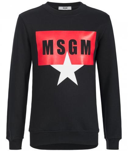 MSGM Sweatshirt mit Logo und Stern in schwarz