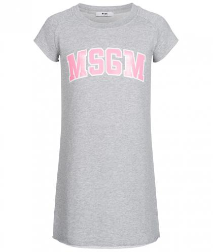 MSGM Sweat-Kleid mit Print in grau-meliert