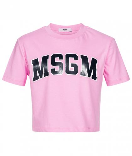 MSGM Cropped Top mit Print in rosa