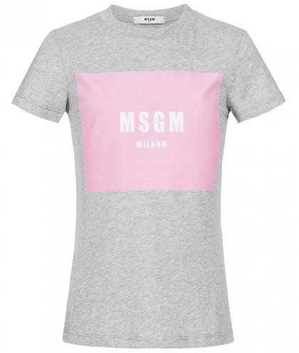 MSGM Shirt-Top mit Print in grau-meliert