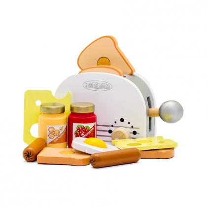 MaMaMeMo wooden toaster set - white
